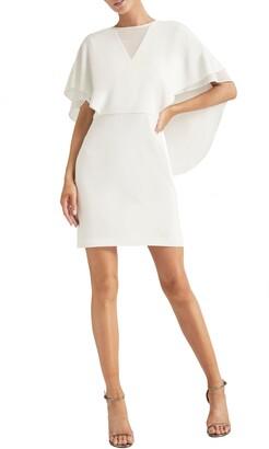 Halston Cape Sleeve Cocktail Dress