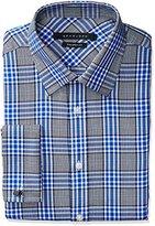 Sean John Men's Regular Fit Plaid Spread Collar Dress Shirt