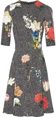 Oscar de la Renta Chevron Floral Pattern Dress
