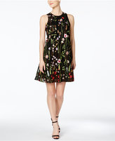 Calvin Klein Petite Floral-Embroidered Trapeze Dress