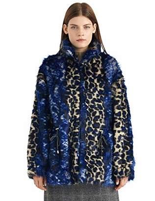 Women's Fuax Fur Coat Long Sleeve Winter Warm Leopard Fluffy Top Short Jacket Outwear L