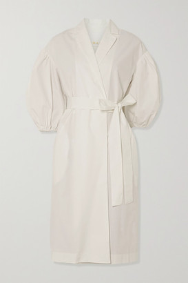 REMAIN Birger Christensen West Cotton-poplin Wrap Dress - White