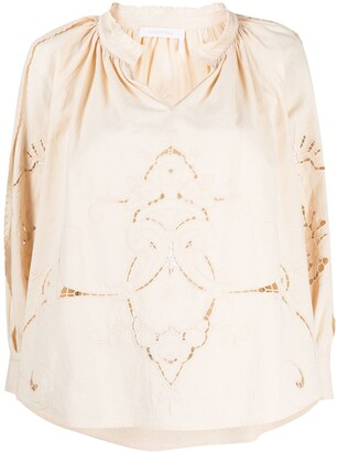 See by Chloe Embroidered Long-Sleeve Blouse