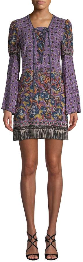 Anna Sui Women's Paisley Fringe Border Silk Dress