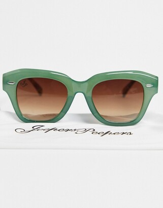 Jeepers Peepers womens round sunglasses in green