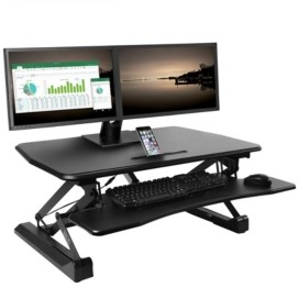 Seville Classics Airlift Electric Sit To Stand Adjustable Desktop Converter