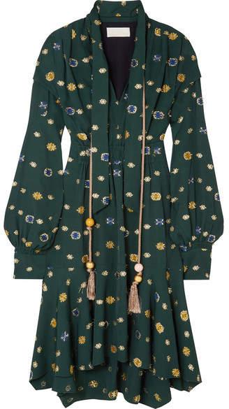 Peter Pilotto Asymmetric Pussy-bow Fil Coupé Crepe Dress - Green
