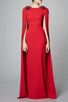 Marchesa Crepe Cape Gown