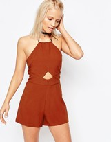 Glamorous Halterneck Romper With Cut Out Detail