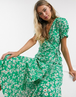 Influence wrap midi dress in green daisy print