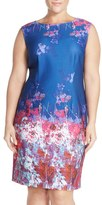 Adrianna Papell Plus Size Women's Border Print Scuba Knit Sheath Dress