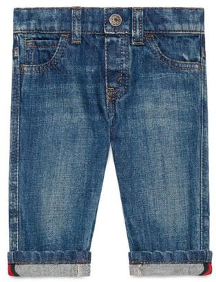 Gucci Baby Boy's Washed Cuffed Jeans