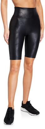 Spanx Faux-Leather Camo Bike Shorts