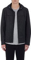 Vince Men's Leather Hooded Jacket-BLACK