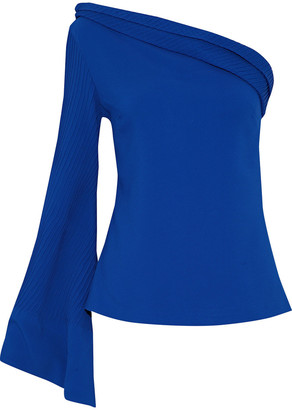 Brandon Maxwell One-shoulder Pleated Crepe Top