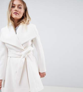 Asos DESIGN Petite waterfall collar coat with tie belt-Cream