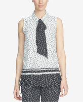 CeCe Printed Tie-Neck Blouse