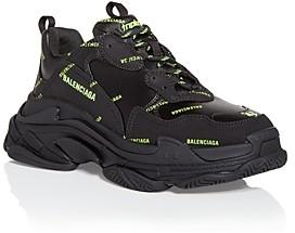 Balenciaga Men's Triple S Logo Print Low Top Sneakers
