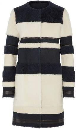 Yves Salomon Striped Shearling Coat