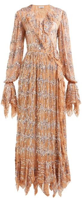 Ashish Sequin Embroidered Ruffled Wrap Dress - Womens - Beige Multi