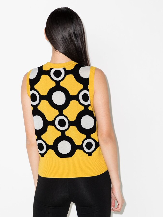 Thumbnail for your product : Charles Jeffrey Loverboy Yellow Intarsia Knitted Merino Vest