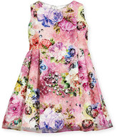 Helena Sleeveless Printed Floral Lace Dress, Multicolor, Size 7-14
