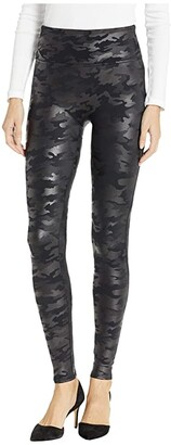 Spanx Faux Leather Camo Leggings (Matte Black Camo) Women's Casual Pants