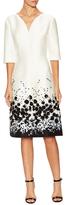 Carolina Herrera 3/4 Sleeve Embellished Midi Dress