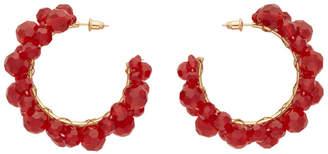 Simone Rocha Red Medium Wiggle Crystal Hoop Earrings