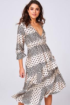 Girls On Film Harmony Cream Polka-Dot Satin Frill Midi Dress