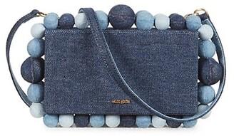 Cult Gaia Eos Bauble Denim Crossbody Box Bag