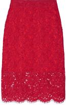 Diane von Furstenberg Glimmer Corded Lace Pencil Skirt - Red