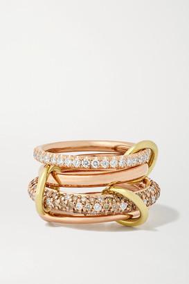 Spinelli Kilcollin Vega Set Of Four 18-karat Rose And Yellow Gold Diamond Rings - Rose gold