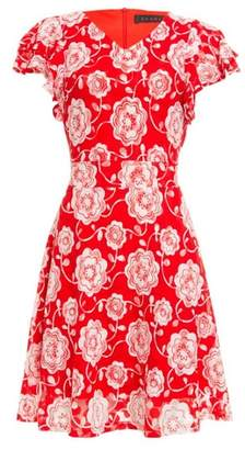 Dorothy Perkins Womens *Tenki Red Floral Print Lace Dress, Red