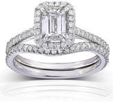Kobelli Jewelry Kobelli 1 1/2 CT TW Emerald-Cut Diamond 14K White Gold Halo Bridal Set