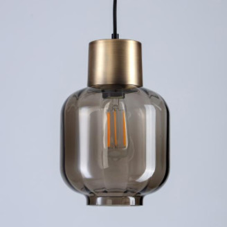 Holloways of Ludlow - Carnegie 3 Pendant Light - Smoked Glass - Small - Grey/Copper