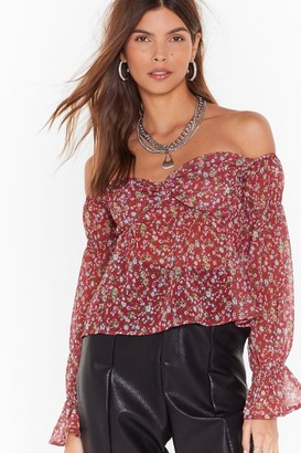 Nasty Gal Womens Plant Make It Floral Off-the Shoulder Top - Red