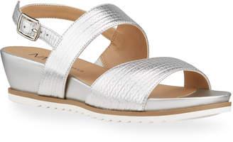 Neiman Marcus Herena Metallic Platform Sandals