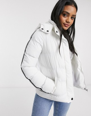 Brave Soul hop padded coat with stripe sleeves