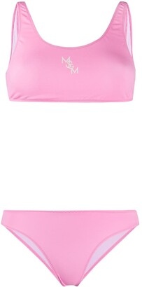 MSGM Logo-Print Cami-Top Bikini
