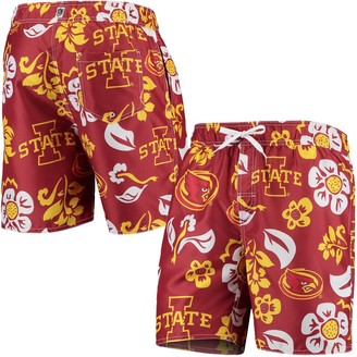Women's Wes & Willy Crimson Iowa State Cyclones Floral Volley Swim Trunks