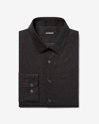 Express Extra Slim Paisley Cotton Dress Shirt
