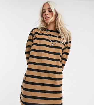 Asos DESIGN Petite oversized t-shirt dress camel and black stripe