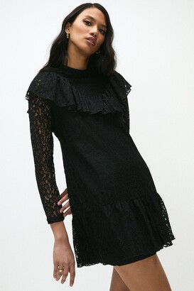 Coast Lace Long Sleeve Frill Detail Dress