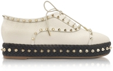 Charlotte Olympia Hoxton Ivory Embossed Leather Platform Shoes