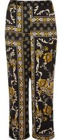 River Island Womens RI Plus black print soft woven pants