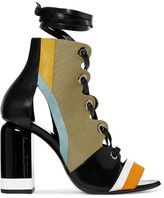 Pierre Hardy Alchimia Paneled Leather, Suede And Canvas Sandals - FR39