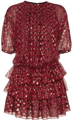 Saint Laurent ruffle and polka dot silk-blend dress