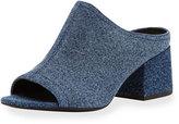 3.1 Phillip Lim Cube Denim Block-Heel Mule Sandal, Light Denim