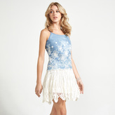 Apricot Blue Denim Look Cream Sunflower Embroidery Vest Top